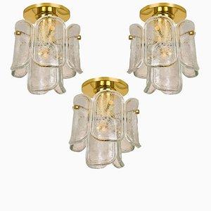 Einbaulampen aus Glas und Messing von J.T. Kalmar, 1970er, 3er Set