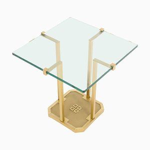 T18 Brass & Glass Side Table by Peter Ghyczy, 1970s