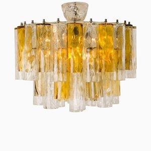 Lampadario grande in vetro tubolare trasparente e color ocra di Barovier & Toso