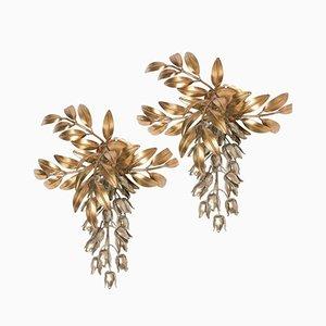 Applique da parete a forma di fiori in metallo dorato di Hans Kögl, anni '60