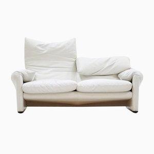 2-Sitzer Maralunga Sofa in Weißem Leder von Vico Magestretti für Cassina