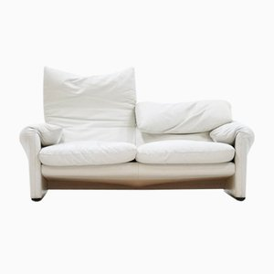 Maralunga 2-Seater Sofa in White Leather by Vico Magestretti for Cassina