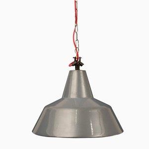 Lámpara colgante industrial gris, años 50