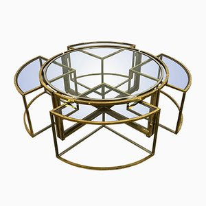 Vintage Coffee Table in Brass and Chrome with 4 Nesting Tables