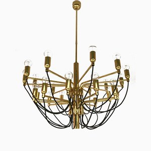 German Brass Chandelier from Staff, 1970s