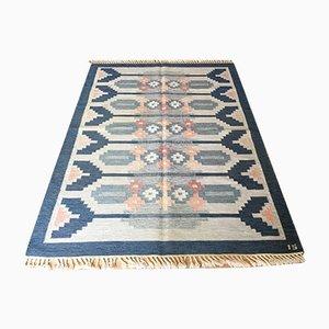 Schwedischer Mid-Century Rolakan Flachgewebe Teppich aus Wolle von Ingegerd Silow