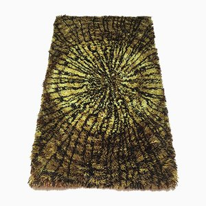 Vintage Swedish Shagpile Rug in Pure Wool, 1960s