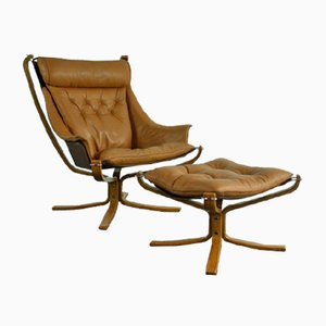Vintage Highback Winged Falcon Chair by Sigurd Ressell, 1970s