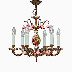 Mid-Century Blumen-Kronleuchter aus Messing & Porzellan