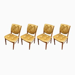 Chaises Scandinaves Vintage en Teck & Skaï, Set de 4