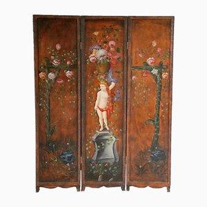 Antiker Handbemalter Raumteiler aus Holz