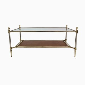 Neoclassical Coffee Table in Bronze, Brass and Leather by Maison Jansen, 1950s
