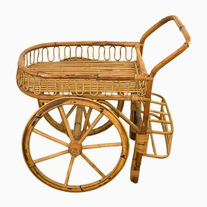 Vintage Bamboo Bar Cart