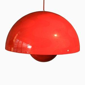 Lampada vintage rossa di Verner Panton per Louis Poulsen