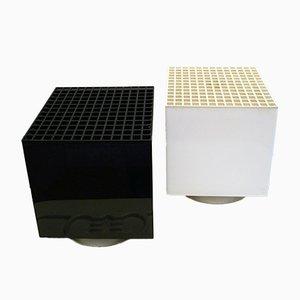 Lampade cubiche in plexiglas bianco e nero di OPI Milano per Cini & Nils, anni '70, set di 2