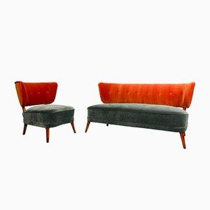 Sedia da cocktail vintage in velluto con divano coordinato, anni '50, set di 2