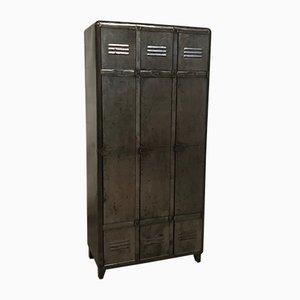 Industrieller Vintage Schließschrank mit 3 Türen
