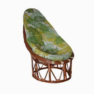 Bamboo and Rattan Lounge Chair, 1980s