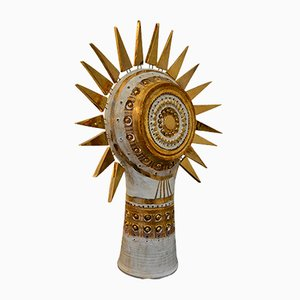 Ceramic Sunburst Table Lamp by George Pelletier, 1970s