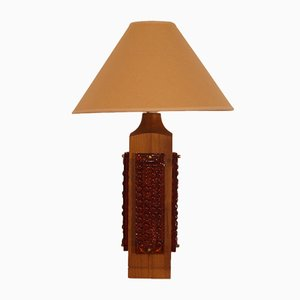 Grande Lampe de Bureau en Teck et Verre, 1960s