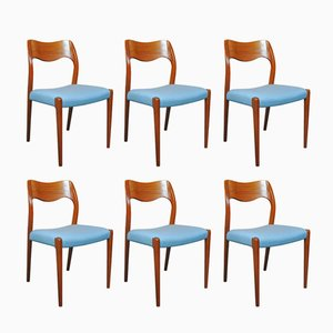 Vintage 71 Dining Chairs by Niels Otto Møller, Set of 6
