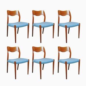 Vintage 71 Esszimmerstühle von Niels Otto Møller, 6er Set