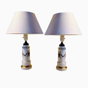 Danish Porcelain Table Lamps by Dahl Jensen, 1930s, Set of 2