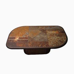 Tavolino da caffè brutalista in ardesia e bronzo, anni '80