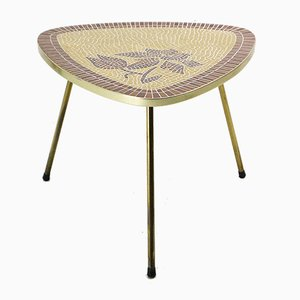 Mosaik Tisch mit Rahmen aus Messing, 1950er