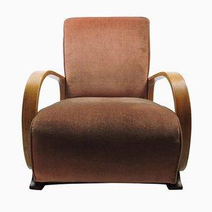 Gepolsterter Art Deco Bugholz Sessel