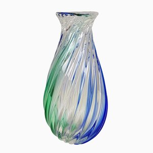 Vintage Italian Blue & Green Murano Glass Vase by Archimede Seguso