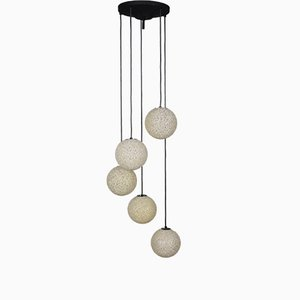 Lampada da soffitto vintage a cinque sfere, anni '60
