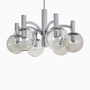 Lámpara de araña vintage de cromo y vidrio de Kaiser Leuchten