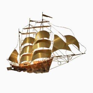 Applique Murale Ship en Cuivre Massif & Laiton par Daniel d'Haeseleer, 1970s
