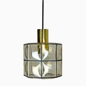 Lámpara colgante de vidrio octagonal de Glashütte Limburg, años 60