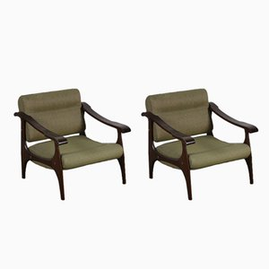 Italian Armchairs in Beech, 1960s, Set of 2