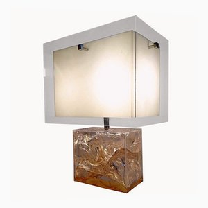 Vintage Table Lamp in Fractal Resin by Pierre Giraudon