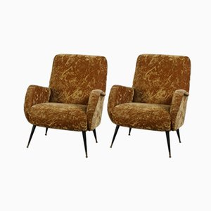 Light Brown Fabric Lounge Chairs, 1960s, Set of 2