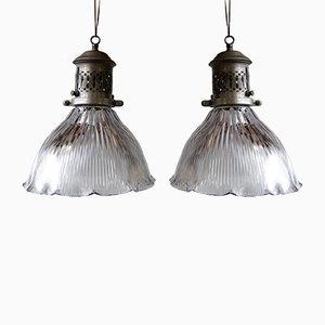 Jugendstil Deckenlampen von Holophane, 2er Set
