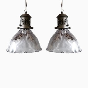 Lámparas de techo modernistas de Holophane. Juego de 2