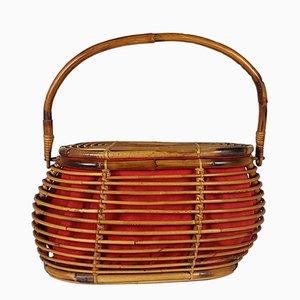 Vintage Italian Rattan Basket, 1960s