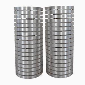 Appliques Murales Cylindriques Mid-Century en Aluminium, Set de 2