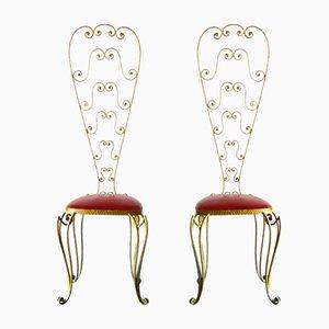 Goldene Italienische Vintage Stühle aus Eisen von Pier Luigi Colli, 2er Set