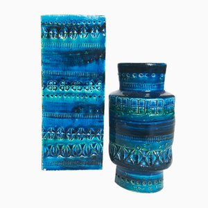 Rimini Blaue Vasen von Aldo Londi für Bitossi, 1960er, 2er Set