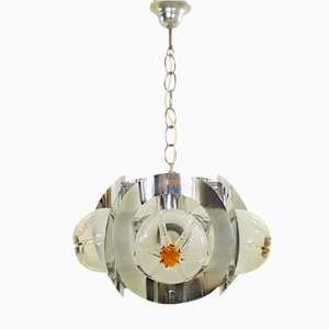 Lámpara de araña vintage de cristal de Murano de Mazzega, años 70