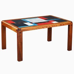 Tavolino da caffè Mid-Century in olmo massiccio con mattonelle in ceramica di Pierre Chapo