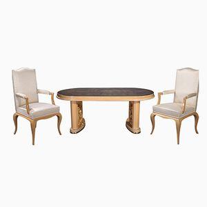 Tavolo da pranzo con sedie e poltrone, anni '50, set di 7