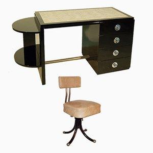 Scrivania e sedia girevole Art Deco nere laccate