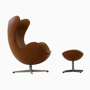 Leather Egg Lounge Chair & Ottoman by Arne Jacobsen for Fritz Hansen, 1960s