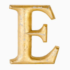 Lettera E vintage dorata